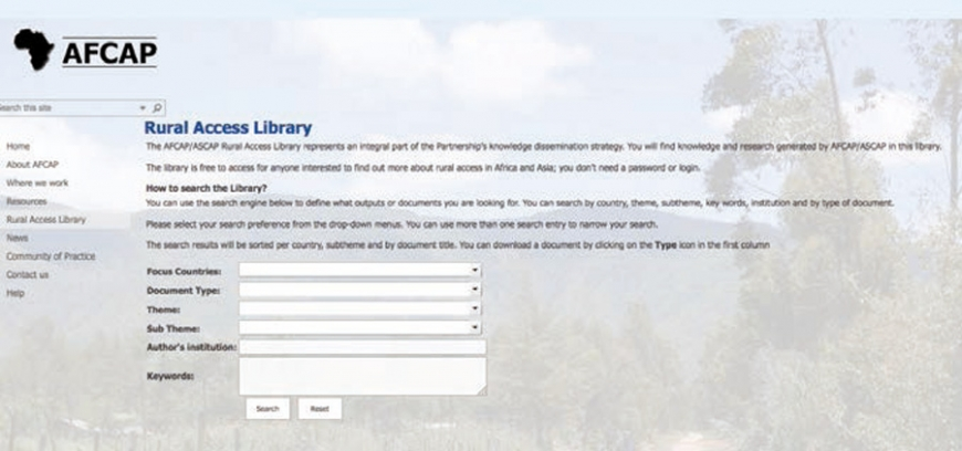 AFCAP Rural Access Library online